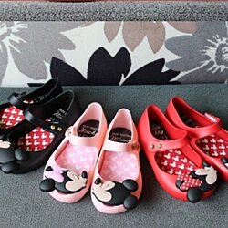 Minnie Mickey Mouse Mini Melissa Girls Shoes Bows Jelly Ballerina Princess Kids
