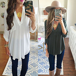 V Neck Long Sleeve Tunic Tops Office T Shirt Plus