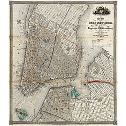 1840 Old Map Of New York City Vintage Manhattan Map Brooklyn Map Historic Map Old Restoration Hardware Style NYC Manhattan Street Wall Map