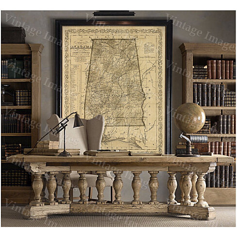 Alabama map Antique map of Alabama Antique Restoration Hardware Style Map of Alabama Large Old Alabama Wall Map Home Decor Office art