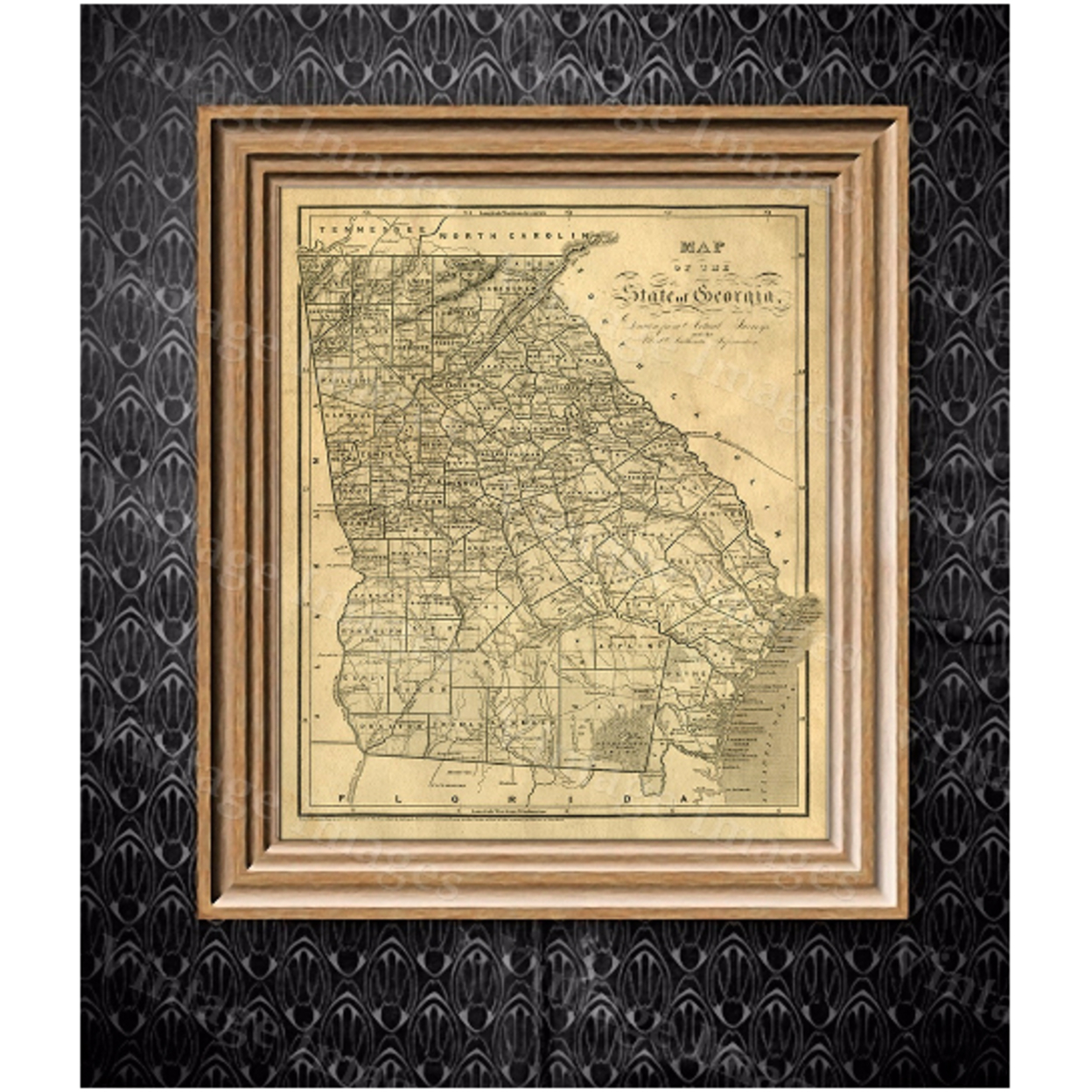 """Georgia map Antique map of Georgia Antique Restoration Hardware Style Map of Georgia Large Old Georgia Wall Map Home Decor Office art - 11\"""" x 14\"""" inches [$14.44] 56d1eb56693d6f033b8b496d"""