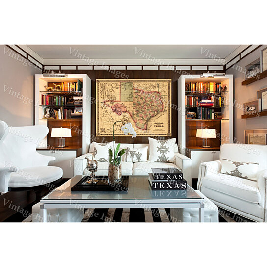 Texas Home Decor: Buy Giant 1866 Texas OLD WEST Map Antique Restoration