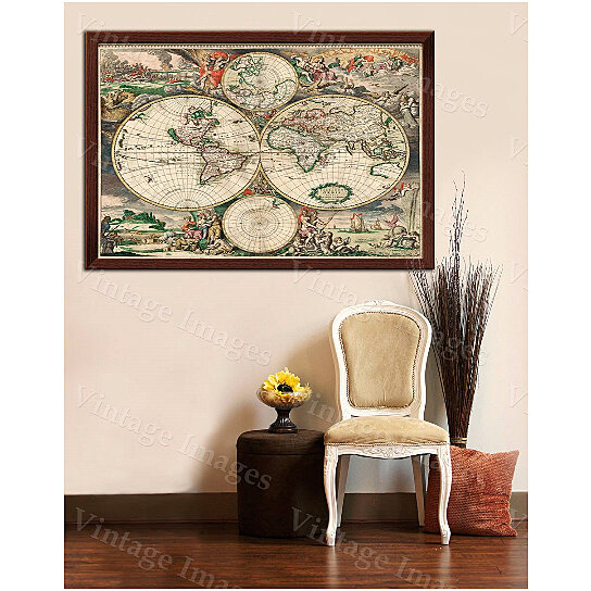 Buy giant old world map vintage map historic 1689 antique for Old world home decor