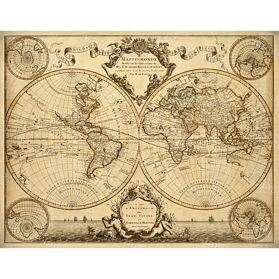 Buy L'Isle's 1720 Old World Map Historic Map Antique