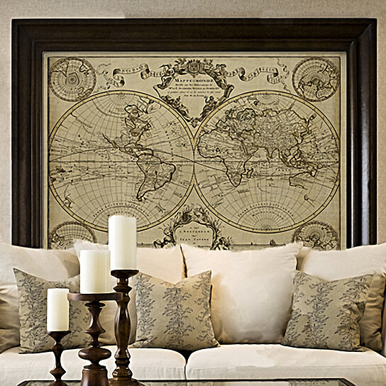 Buy l 39 isle 39 s 1720 old world map historic map antique for Old world home decor