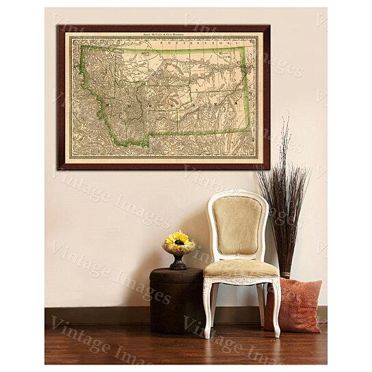 buy montana map of montana 1881 antique restoration hardware style montana wall map vintage