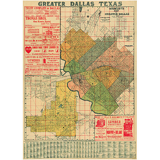 Buy Old Dallas Texas Map Vintage Historical Map Antique