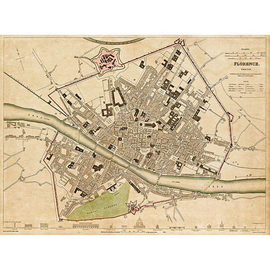 Buy Old map of Florence Italy 1835 Florence map Vintage Map of