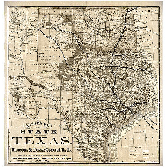 Buy Old Map Of Texas 1876 Vintage Historical Wall Map Antique - Old-map-of-us