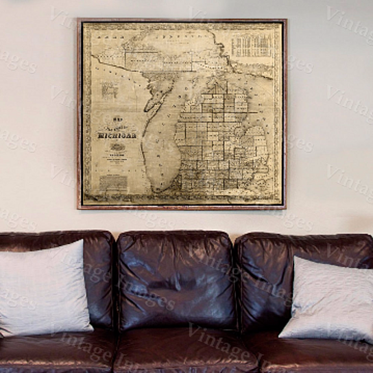 Old Michigan Map Vintage 1856