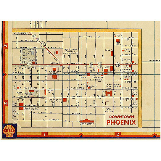 Buy Old Phoenix Map Vintage Phoenix Arizona map Antique