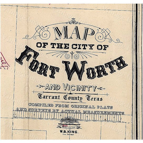 Buy Old Texas Fort Worth Wall Map Vintage Historical Map