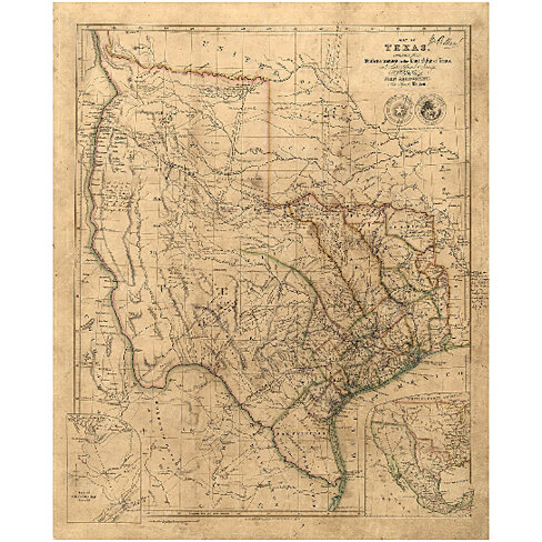 Old Texas Map, 1841 Vintage Texas Historical map, Antique Restoration Hardware Style Map, Map of Texas, state Map Texas Map Fine Art Print