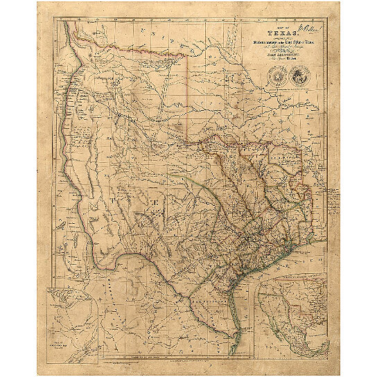 Buy Old Texas Wall Map 1841 Vintage Historical Map Antique