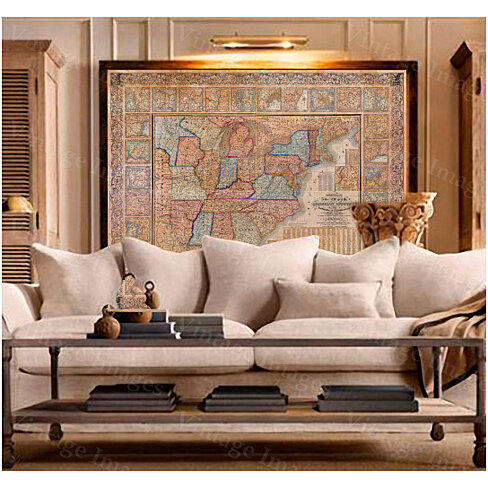 Buy old us map 1844 united states map restoration hardware for Vintage home interior products