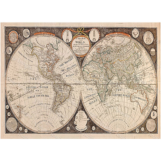 Buy Old World Map Giant Historic Map Thomas Kitchen World Atlas - Buy historical maps