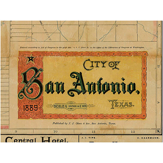 Old Map Of Texas.San Antonio Texas Map Vintage 1889 Old Map Of San Antonio Antique Restoration Hardware Style San Antonio Wall Map Fine Map Art Wall Decor
