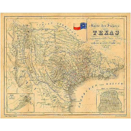 Buy Texas Map 1849 Map Of Texas Texas Old Map Of Texas