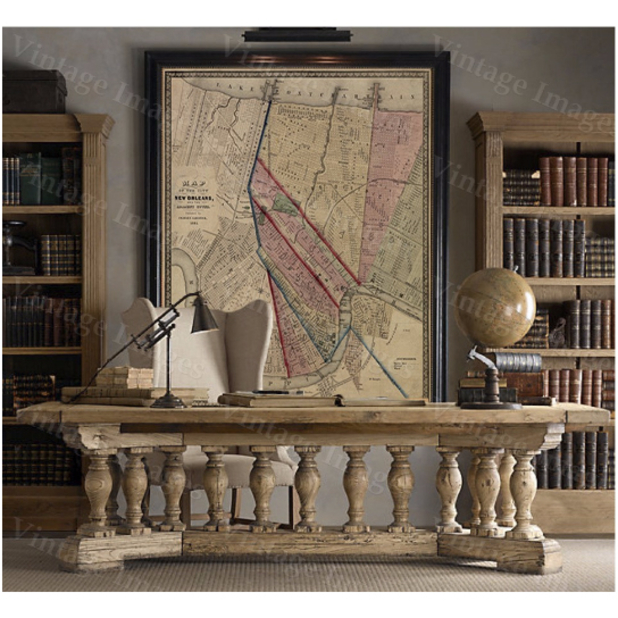 """Vintage Map New Orleans Map Louisiana Historic Restoration Style Map of New Orleans Fine Art Print Large wall map Home office coporate decor - 16\"""" x 20\"""" inches [$17.44] 56d236464b3d6f2e028b48fb"""