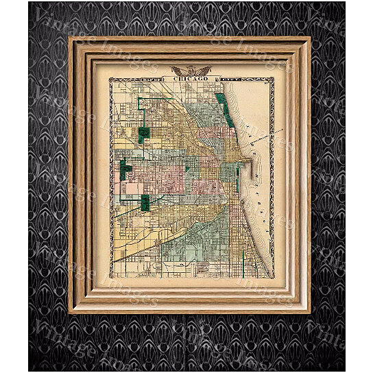 Buy Vintage Map of Chicago, 1857 Chicago Illinois map Antique ... on