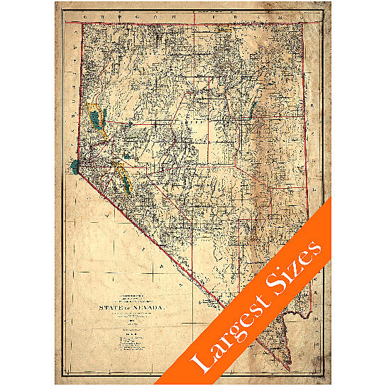 Buy Vintage Map of Nevada Restoration Hardware Style 1894 Old Nevada ...