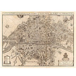 Vintage Map of Paris 1742 Old Map of Paris France Restoration Hardware style Map Plan de Paris Fine art Print Wall Map Home Decor Decorative