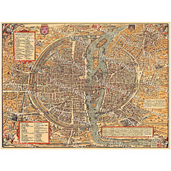 "Vintage map of Paris Historic 1575 PLAN DE PARIS France restoration hardware style Map six sizes up to 43"" x 58' Fine art Print Home Decor"