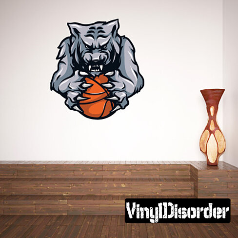 Buy basketball mascot vinyl wall decal or car sticker for Basketball wall decals