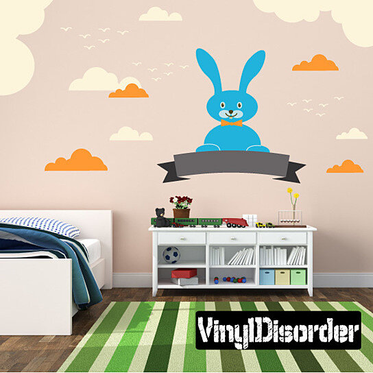 Buy bunny with clouds wall decal kit nursery room decor for 007 room decor