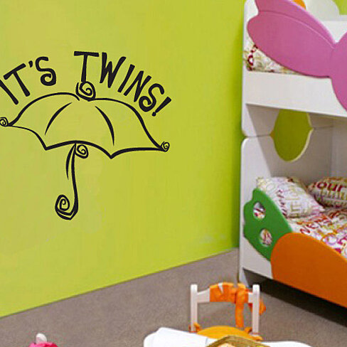 Buy its twins umbrella baby shower celebrations vinyl wall for Baby shower wall mural