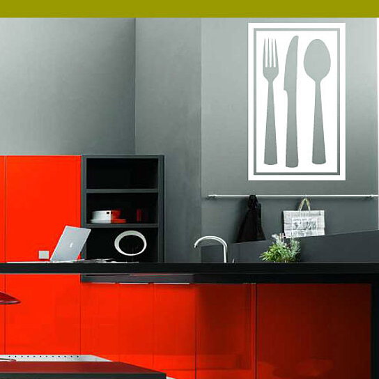 Kitchen Wall Border Decals: Buy Knife Spoon Fork Square Border Kitchen Labels Vinyl