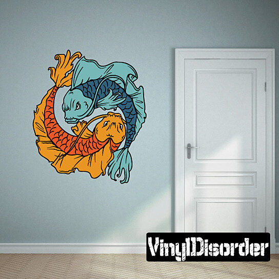 Buy koi fish ying yang vinyl wall decal or car sticker for Koi wall decal