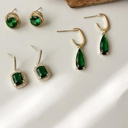 3PC Emerald inlaid with Zircon Earrings