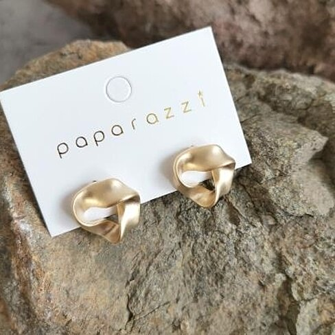 Chic wind hand twisted geometric small earrings with matte gold plating