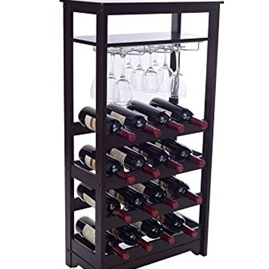 Buy merry products 16 bottle wine rack espresso by for 16 bottle wine cabinet with glass door espresso