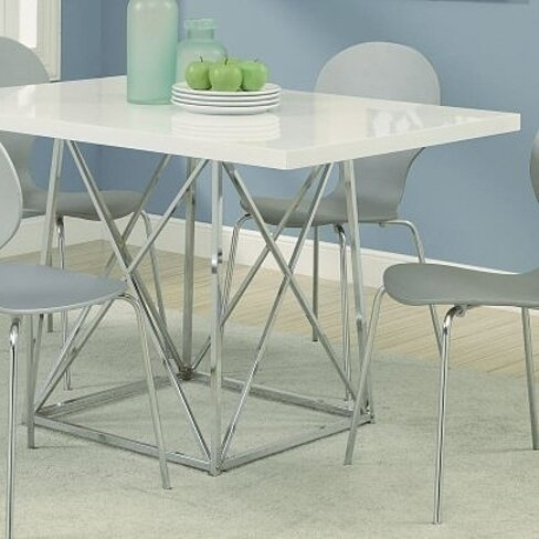Buy Monarch I 1046 36 By 48 Inch Dining Table White Glossy Chrome