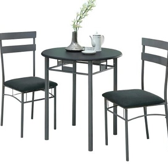 monarch specialties black and silver metal bistro dining set 3 piece