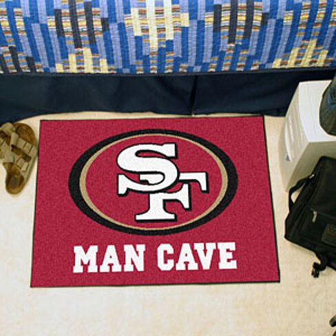 Buy nfl san francisco 49ers man cave starter rug 19 x30 for 49ers bathroom decor
