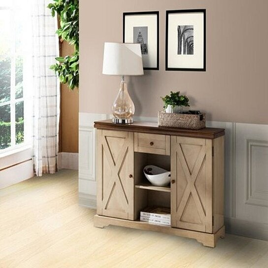 Buy Pilaster Designs Wood Buffet Cabinet Console Table With Storage Antique White Walnut