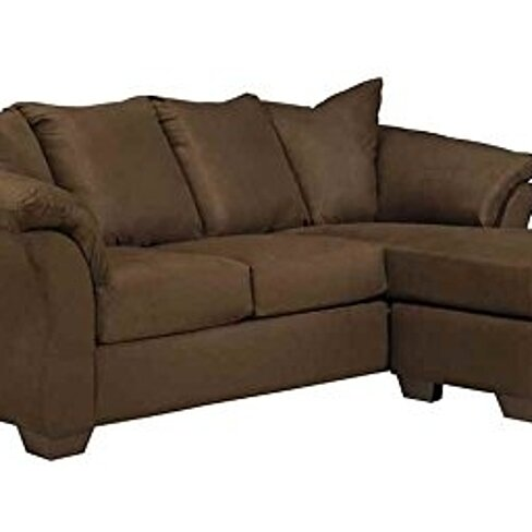 Buy signature design by ashley darcy sofa chaise in cafe for Ashley microfiber sectional with chaise