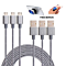 Set of 3, Apple or Android Compatible Charging Cables - Includes 3ft, 6ft, 10ft Cables + BONUS POP Stand