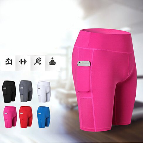 Premium Yoga Shorts With Tech Pocket, Multiple Colors