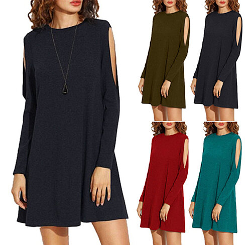 Flirty Cold-Shoulder Swing Tunic Dress, Available in 5 Colors