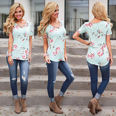 Floral Short Sleeve Top with Cutout Neckline in 5 Colors