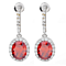 Dewdroplets Colorful Oval CZ Stones Earrings In Sterling Silver