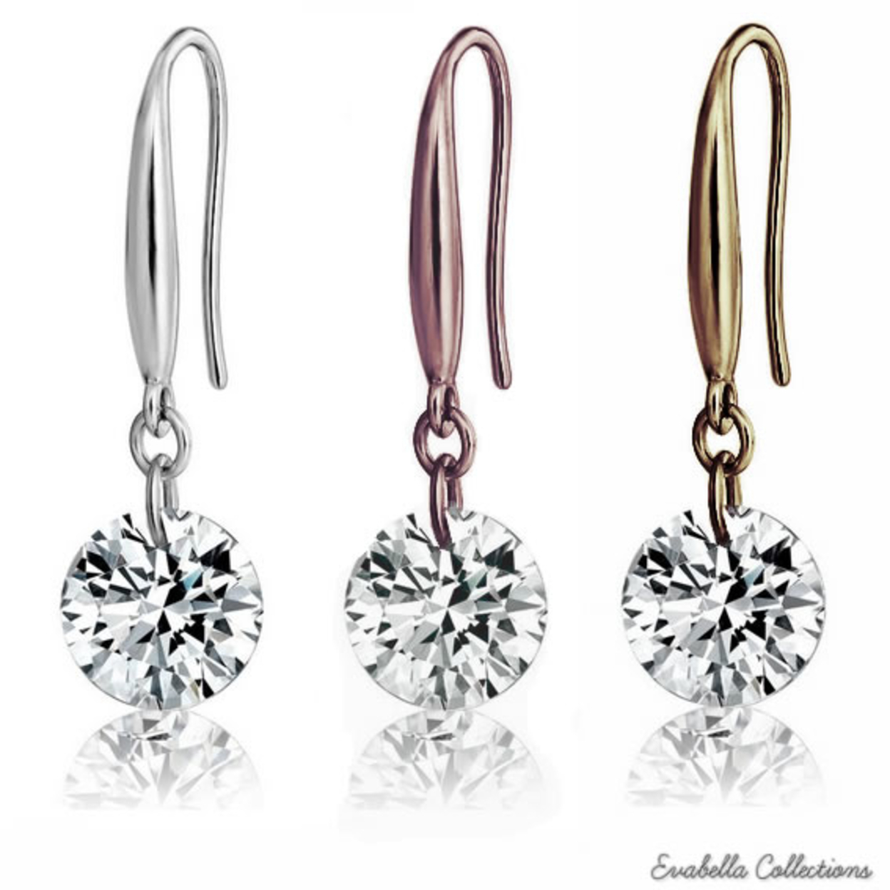 Diamond In The Sky Naked Crystal Drilled Diamonds On A Sterling Silver Hook Earrings Silver