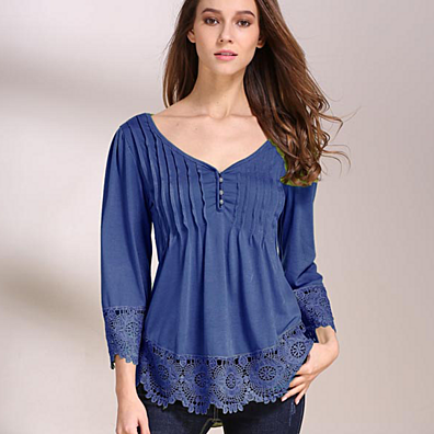 Breezy Pintuck Top with Lace Detail