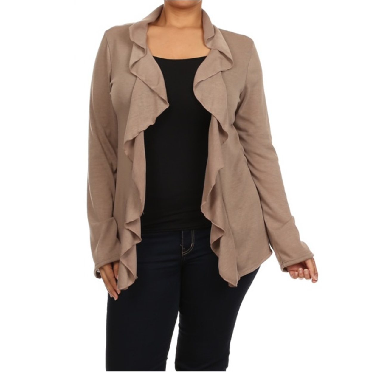 Frills And Thrills Cardigans In 3 Colors And Plus Sizes - Mocha Brown, 1 XL 55db6919683d6f86698b4638