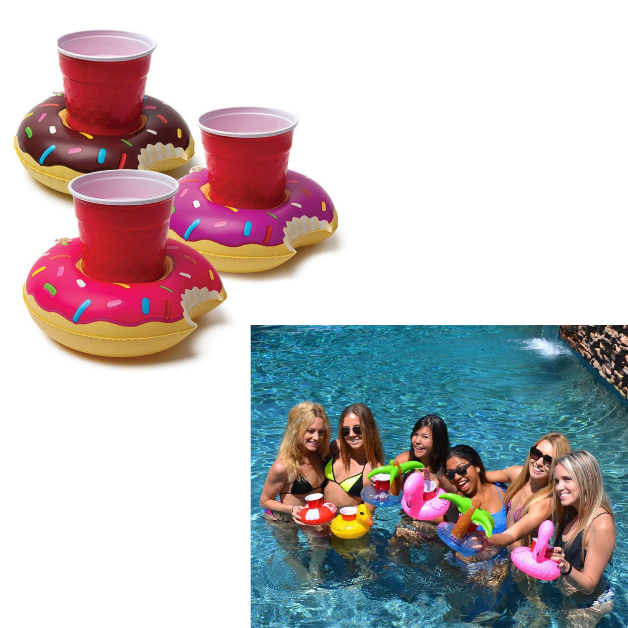 Fun Floaties Drink Holders For Your Pool Pack Of 3 596f436339f7e302541d3c8a