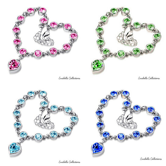 Buy Happy Hearts Crystal Clear And Colorful Bracelets by ...
